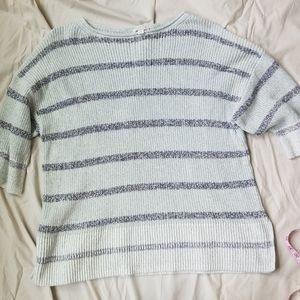 Gap Knit Striped 3/4 Sleeve Sweater